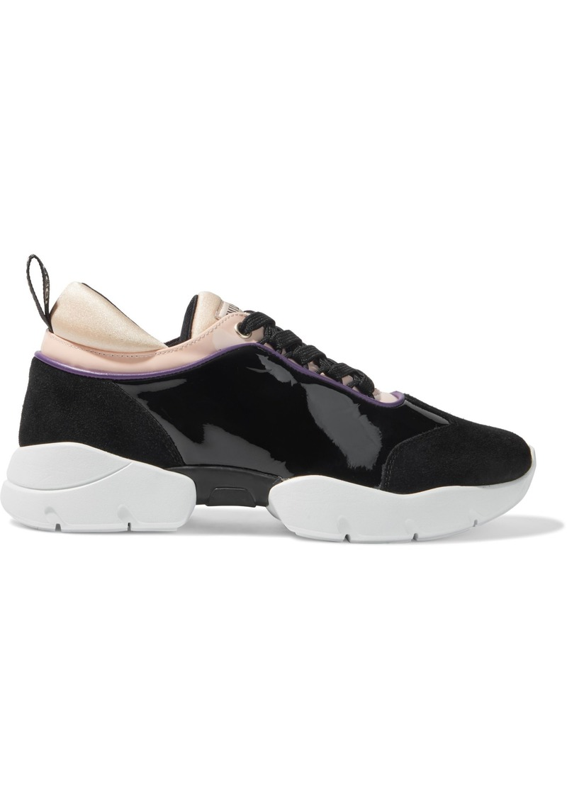 Emilio Pucci Woman City Wave Patent-leather Suede And Neoprene Sneakers Black
