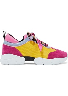 Emilio Pucci Woman City Wave Snake-effect Leather Suede And Neoprene Sneakers Yellow