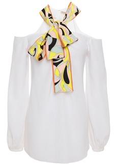 Emilio Pucci Woman Cold-shoulder Pussy-bow Crepe De Chine Top White