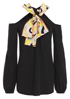 Emilio Pucci Woman Cold-shoulder Pussy-bow Crepe De Chine Top Black