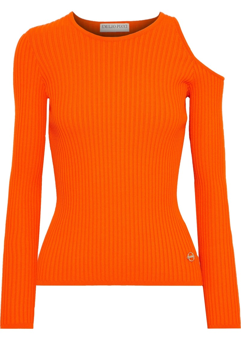 Emilio Pucci Woman Cold-shoulder Ribbed-knit Top Orange