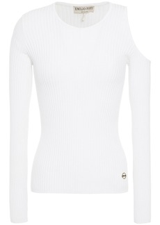 Emilio Pucci Woman Cold-shoulder Ribbed-knit Top White