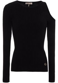 Emilio Pucci Woman Cold-shoulder Ribbed-knit Top Black