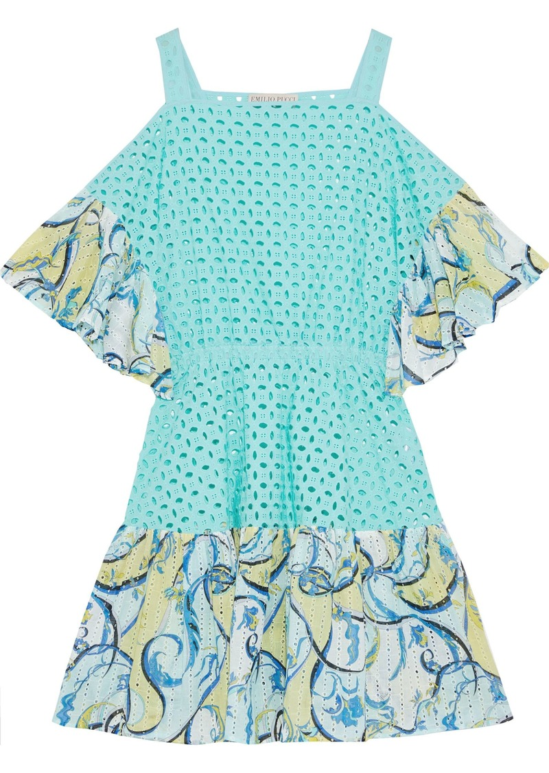 Emilio Pucci Woman Cold-shoulder Ruffle-trimmed Broderie Anglaise Cotton Mini Dress Turquoise