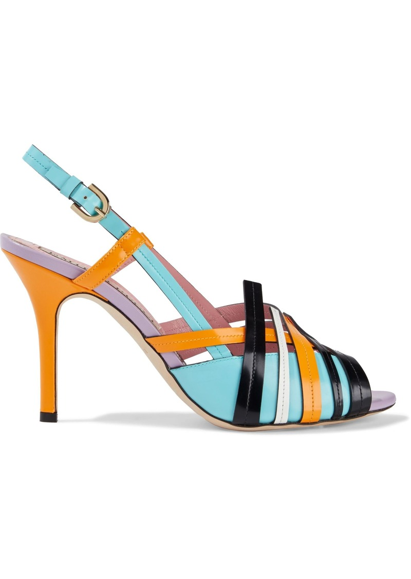 Emilio Pucci Woman Color-block Glossed-leather Slingback Sandals Turquoise