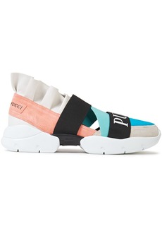 Emilio Pucci Woman City Up Ruffled Leather Suede And Neoprene Slip-on Sneakers Turquoise