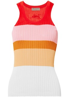 Emilio Pucci Woman Color-block Ribbed-knit Tank Orange