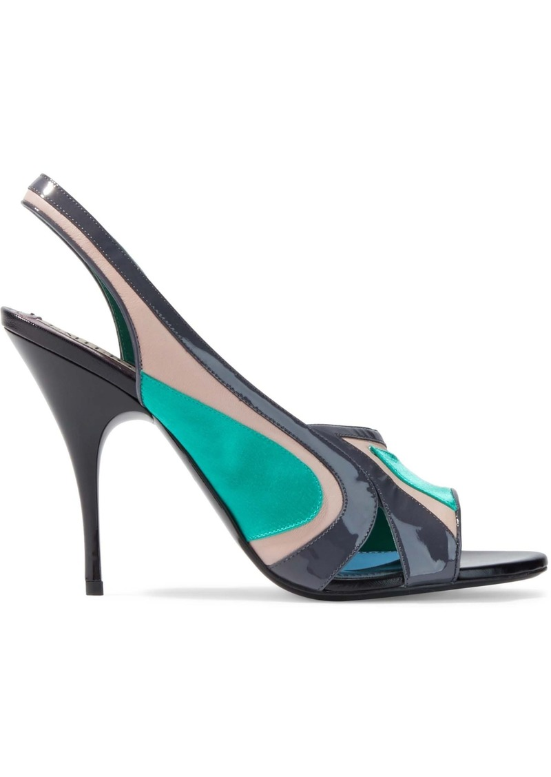 Emilio Pucci Woman Color-block Satin Suede And Patent-leather Slingback Pumps Jade