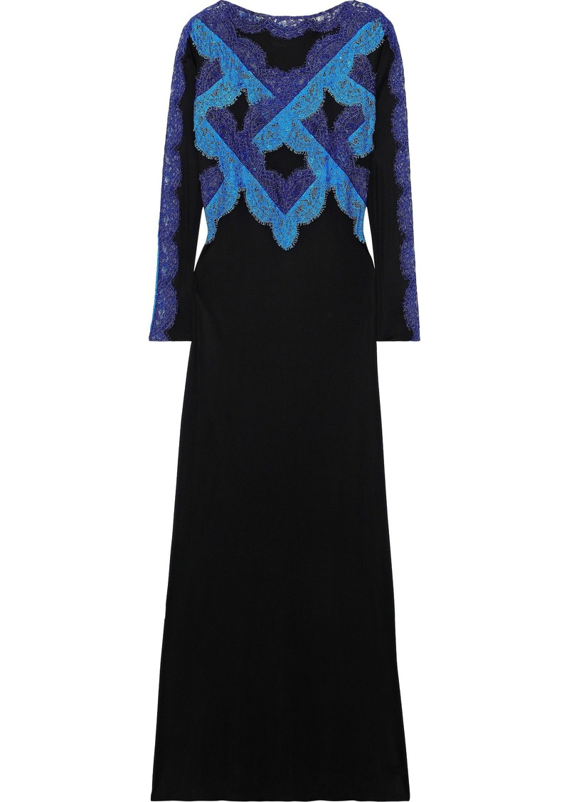 Emilio Pucci Woman Corded Lace-paneled Crepe De Chine Gown Black