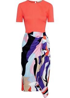 Emilio Pucci Woman Crepe-paneled Draped Printed Silk-blend Twill Dress Multicolor