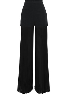 Emilio Pucci Woman Crepe-paneled Pleated Chiffon Wide-leg Pants Black