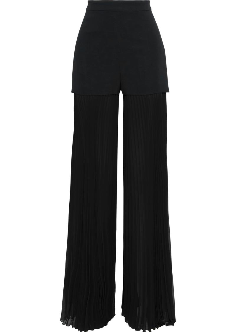 Emilio Pucci Woman Crepe-paneled Pleated Chiffon Wide-leg Pants Black