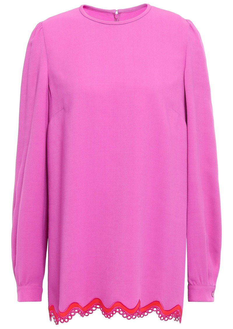 Emilio Pucci Woman Crochet-trimmed Crepe De Chine Top Pink