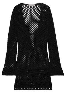 Emilio Pucci Woman Crochet-trimmed Metallic Open-knit Cotton-blend Coverup Black
