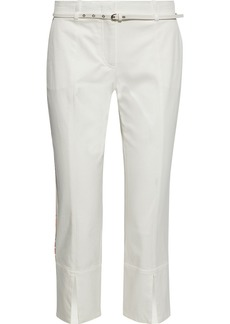 Emilio Pucci Woman Cropped Belted Cotton-blend Twill Slim-leg Pants White