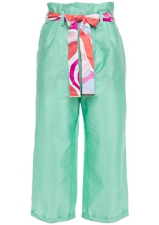 Emilio Pucci Woman Cropped Belted Crinkled Silk-taffeta Straight-leg Pants Mint