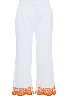 Emilio Pucci Woman Cropped Broderie Anglaise-trimmed Cotton-blend Twill Wide-leg Pants White