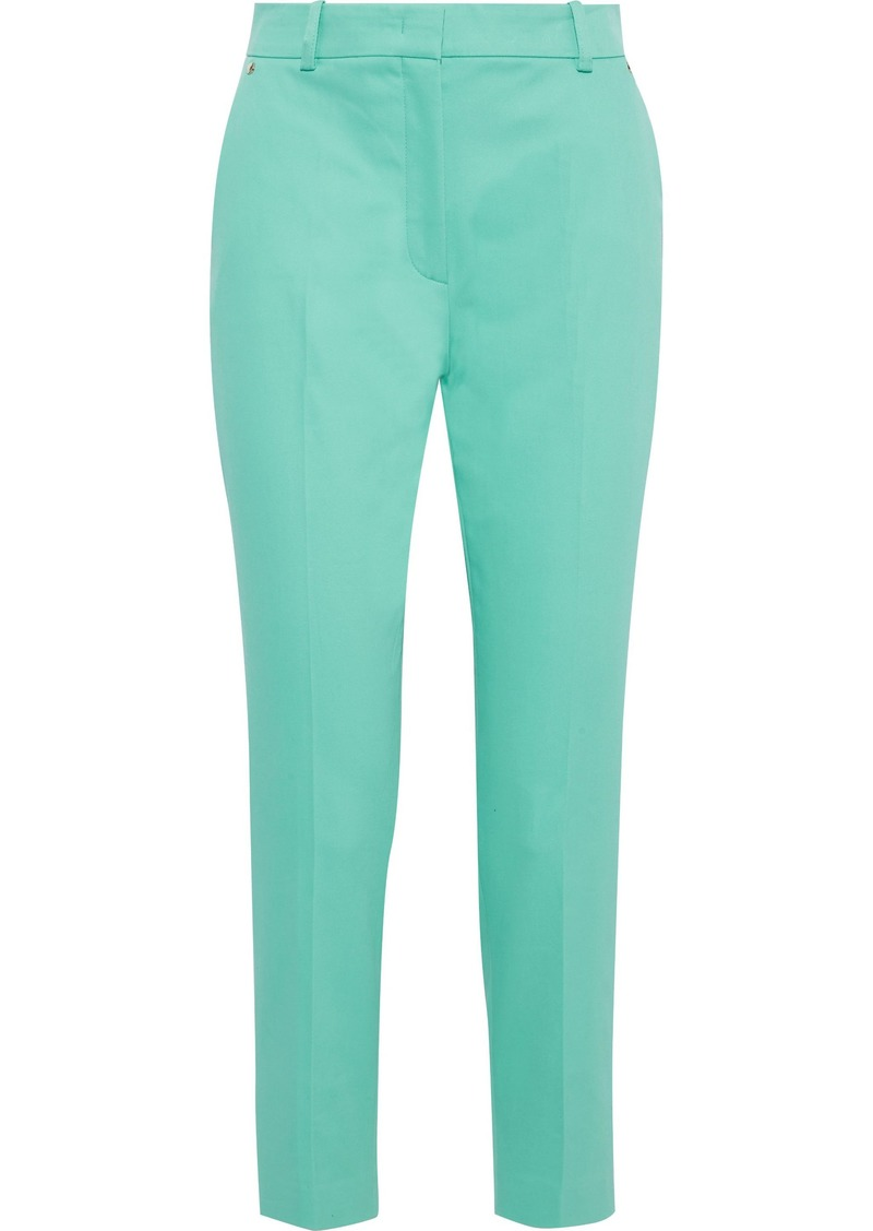 Emilio Pucci Woman Cropped Cotton-blend Twill Slim-leg Pants Mint