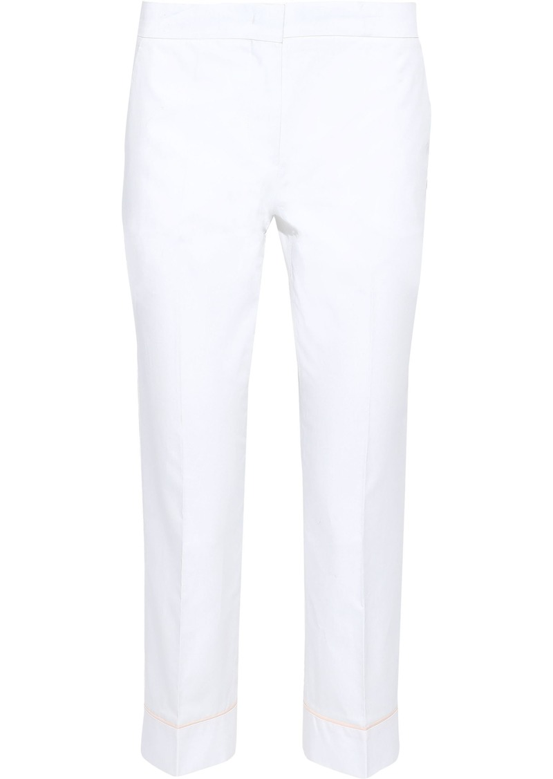 Emilio Pucci Woman Cropped Cotton-poplin Slim-leg Pants White