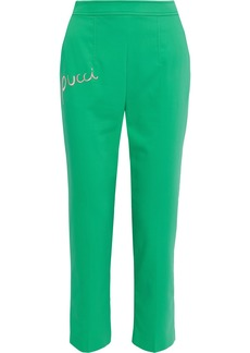 Emilio Pucci Woman Cropped Embroidered Stretch-poplin Tapered Pants Bright Green