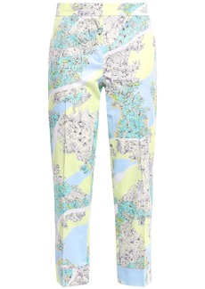 Emilio Pucci Woman Cropped Floral-print Cotton-poplin Slim-leg Pants Sky Blue