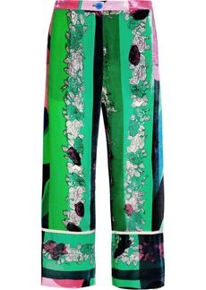 Emilio Pucci Woman Cropped Floral-print Velvet Wide-leg Pants Bright Green