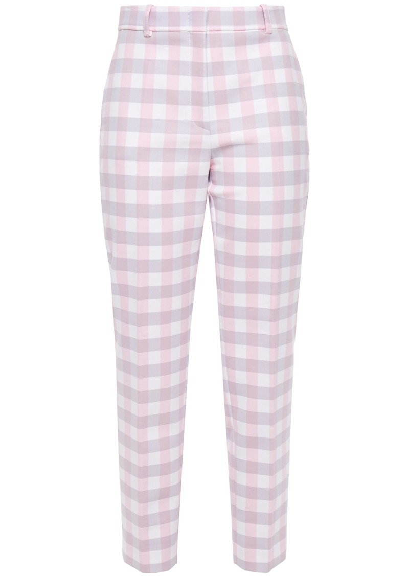 Emilio Pucci Woman Cropped Gingham Twill Tapered Pants Lilac