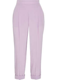 Emilio Pucci Woman Cropped Pleated Silk Crepe De Chine Tapered Pants Lavender