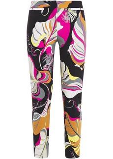 Emilio Pucci Woman Cropped Printed Cady Slim-leg Pants Black