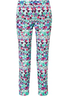 Emilio Pucci Woman Cropped Printed Cotton-blend Faille Straight-leg Pants Multicolor