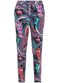 Emilio Pucci Woman Cropped Printed Crepe Slim-leg Pants Storm Blue