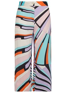 Emilio Pucci Woman Cropped Printed Georgette Straight-leg Pants Lavender