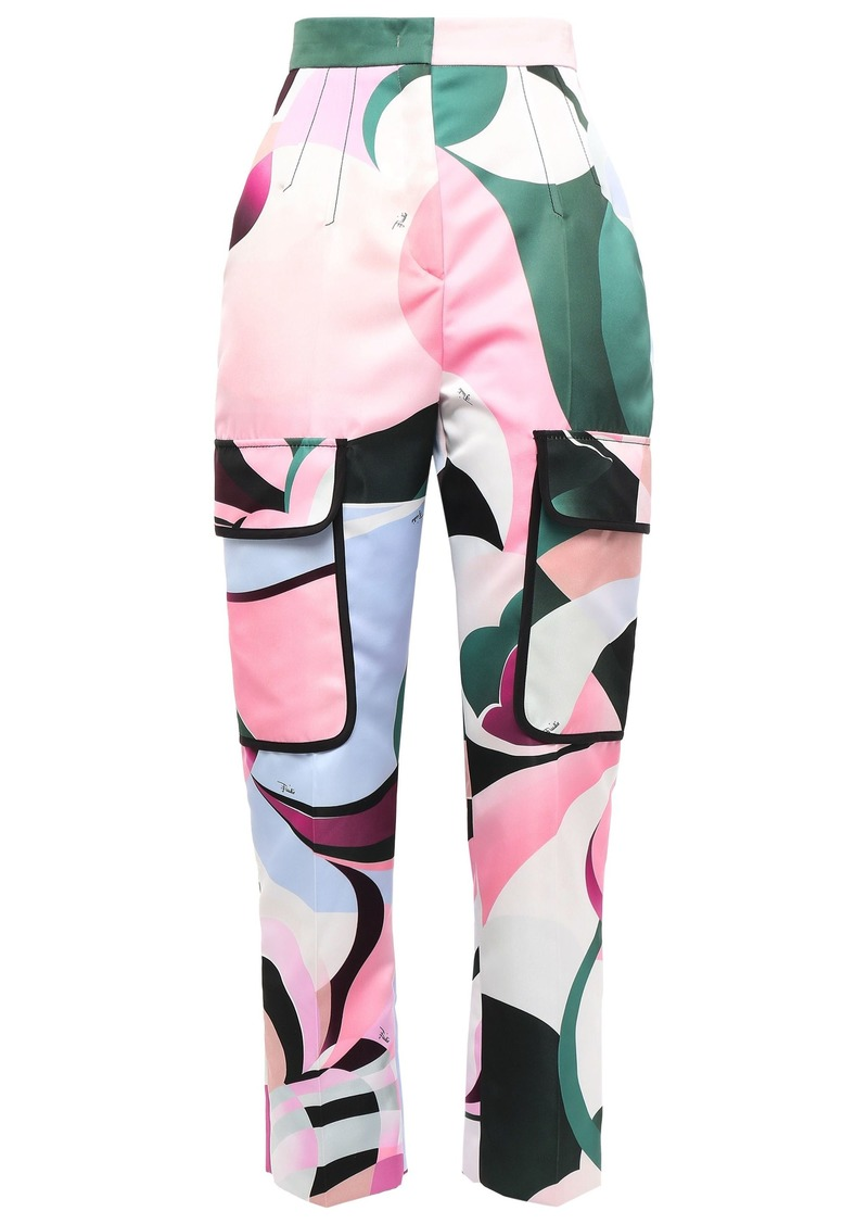 Emilio Pucci Woman Cropped Printed Sateen Tapered Pants Baby Pink