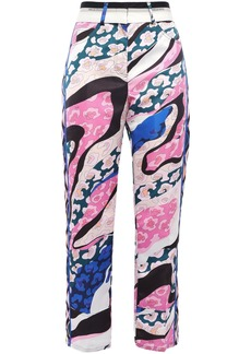 Emilio Pucci Woman Cropped Printed Satin Straight-leg Pants Pastel Pink