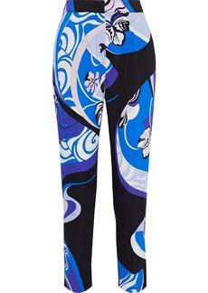 Emilio Pucci Woman Cropped Printed Stretch-crepe Slim-leg Pants Blue