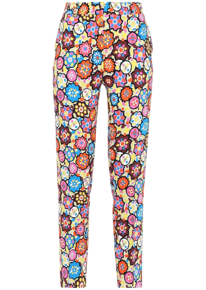Emilio Pucci Woman Cropped Printed Stretch-crepe Slim-leg Pants Yellow