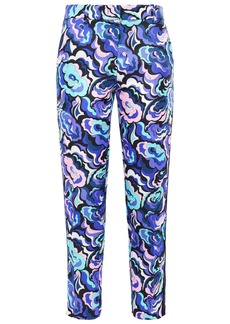 Emilio Pucci Woman Cropped Printed Twill Tapered Pants Royal Blue