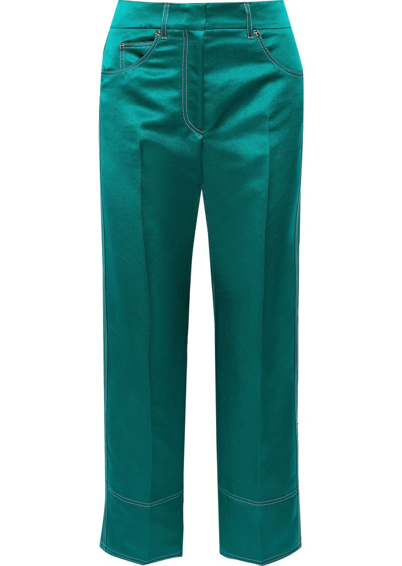 Emilio Pucci Woman Cropped Satin Straight-leg Pants Emerald