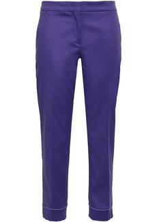 Emilio Pucci Woman Cropped Stretch-cotton Slim-leg Pants Purple