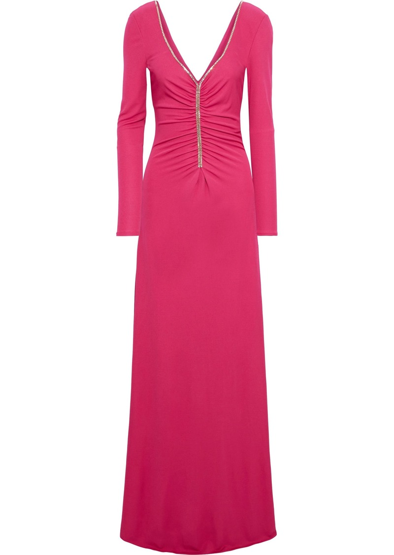Emilio Pucci Woman Crystal-embellished Ruched Jersey Maxi Dress Magenta