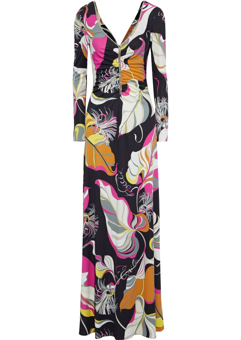 Emilio Pucci Woman Crystal-embellished Ruched Printed Jersey Maxi Dress Black