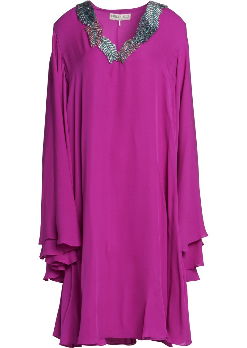 Emilio Pucci Woman Embellished Silk Crepe De Chine Dress Magenta