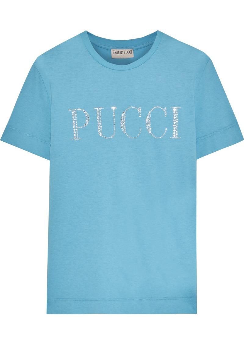 Emilio Pucci Woman Crystal-embellished Slub Cotton-jersey T-shirt Light Blue