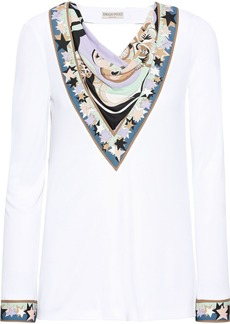 Emilio Pucci Woman Cutout Draped Printed Jersey Top White