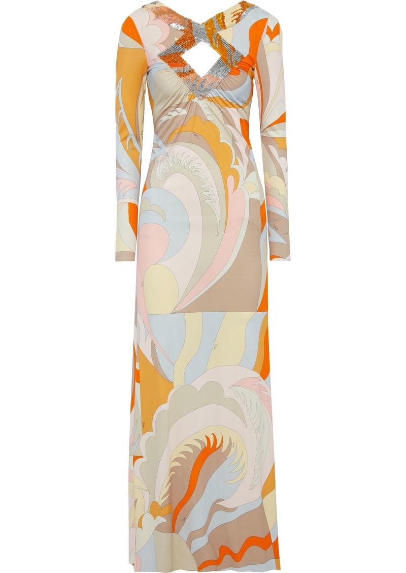 Emilio Pucci Woman Cutout Embellished Printed Stretch-jersey Maxi Dress Orange