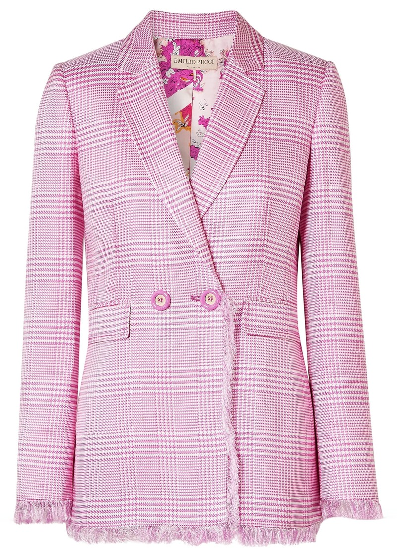Emilio Pucci Woman Double-breasted Fringed Houndstooth Woven Blazer Pink