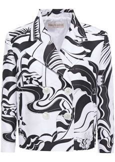 Emilio Pucci Woman Double-breasted Jacquard Jacket White