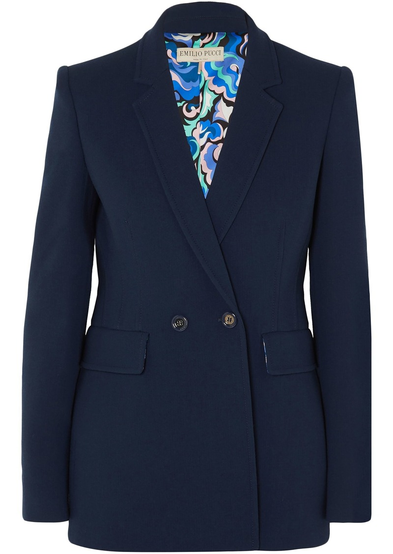 Emilio Pucci Woman Double-breasted Wool-blend Cady Blazer Navy
