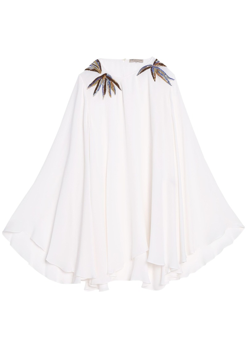 Emilio Pucci Woman Embellished Silk Crepe De Chine Blouse White