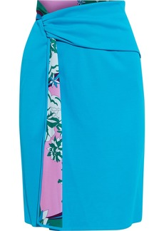 Emilio Pucci Woman Draped Paneled Printed Jersey Skirt Azure